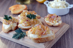 Crostini with cheese and salsa Royalty Free Stock Image