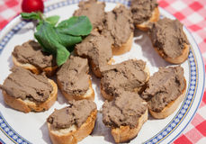 Crostini with Chicken liver, toscany Stock Image