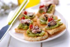 Crostini com anchova Imagens de Stock Royalty Free