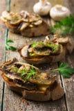 Crostini con i funghi ed il formaggio Fotografie Stock
