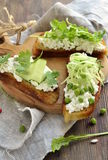 Crostini with cream cheese, green vegetables and herbs Royalty Free Stock Photography