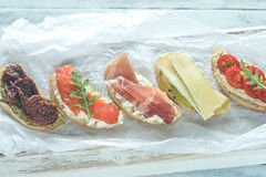 Crostini with different toppings Royalty Free Stock Photography