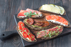 Crostini with different toppings Royalty Free Stock Image