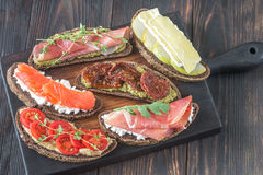Crostini with different toppings Stock Photo