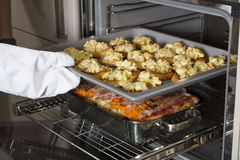 Crostini en braadpan in de oven Stock Fotografie