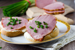 Crostini with feta cheese and bacon Stock Photo