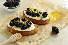 Crostini with goat cheese, blackberries, lemon zest and honey. Selective focus Royalty Free Stock Photography