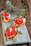 Crostini with goat cheese Royalty Free Stock Images