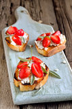 Crostini with goat cheese Royalty Free Stock Image