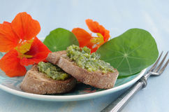 Crostini with indian cress pesto Stock Image