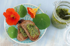 Crostini with indian cress pesto Royalty Free Stock Image
