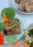 Crostini with indian cress pesto Stock Images