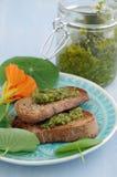 Crostini with indian cress pesto Stock Photos