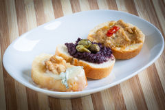 Crostini, italian style appetizers Royalty Free Stock Photos