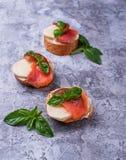 Crostini med laxen, mozarella, tomaten och basilika arkivfoto