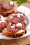 Crostini med salami Royaltyfri Bild