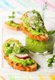 Crostini med sping grönsaker Royaltyfri Foto
