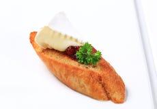 Crostini met kaas Stock Afbeeldingen