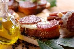 Crostini met salami Royalty-vrije Stock Afbeelding