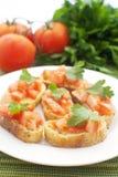 Crostini met tomaten Royalty-vrije Stock Afbeeldingen