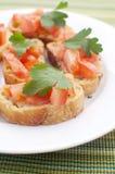 Crostini met tomaten Stock Afbeelding