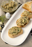 Crostini with mushrooms. Salad with mayonnaise and dill Stock Photography