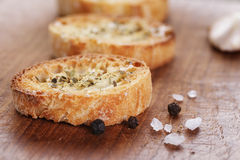 Crostini with olive oil and garlic Stock Image