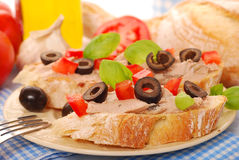 Crostini with pate and olives Royalty Free Stock Photo