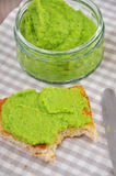 Crostini with a puree of peas Stock Photo