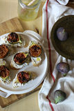 Crostini with ricotta and figs Stock Image