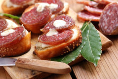 Crostini with salami. And cheese Royalty Free Stock Photography