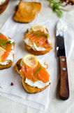 Crostini with salmon Royalty Free Stock Images