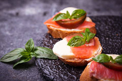 Crostini with salmon, mozarella, tomato and basil royalty free stock image