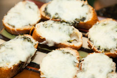 Crostini with spinach and melted cheese Royalty Free Stock Images