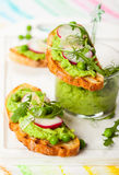 Crostini with sping vegetables. Crostini with pea puree,radish,rocket and cheese Royalty Free Stock Photo