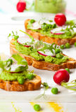 Crostini with spring vegetables Royalty Free Stock Photos