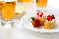 Crostini with Strawberry Rhubarb compote Royalty Free Stock Photo