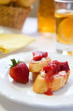 Crostini with Strawberry Rhubarb compote Royalty Free Stock Photos