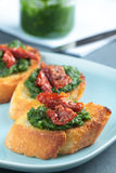 Crostini with sun-dried tomatoes Royalty Free Stock Photography