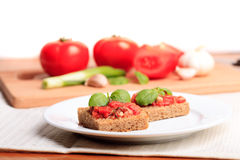 Crostini with tomato Royalty Free Stock Photography