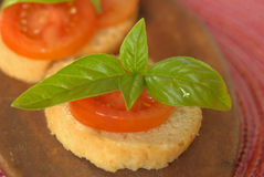 Crostini with tomato Stock Photo