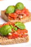 Crostini with tomato. Garlic and basil. National italian dish Royalty Free Stock Image