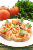Crostini with tomatoes Royalty Free Stock Images