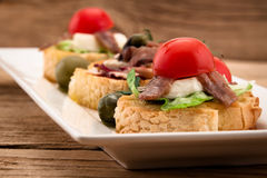 Crostini vith mozzarella cheese Royalty Free Stock Photo