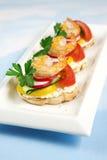Crostini With Feta And Shrimps Royalty Free Stock Photo