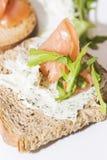 Crostinis con il salmone affumicato ed il formaggio Immagine Stock