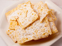 Crostoli, typical Italian sweet. Royalty Free Stock Image