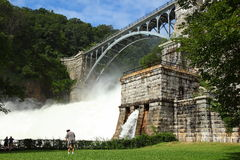 Croton Dam. Dam on mountain river. Expanded water from the waterfall Royalty Free Stock Photo