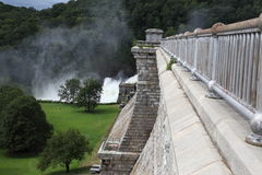 Croton Dam. Dam on mountain river. Expanded water from the waterfall Royalty Free Stock Photography