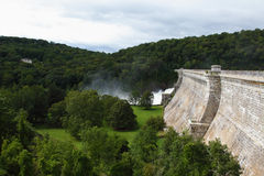 Croton Dam. Dam on mountain river. Expanded water from the waterfall Stock Photo